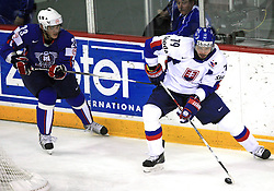 Damjan Dervaric of Slovenia and Peter Fabus of Slovakia at ice-hockey game Slovenia vs Slovakia at Relegation  Round (group G) of IIHF WC 2008 in Halifax, on May 09, 2008 in Metro Center, Halifax, Nova Scotia, Canada. Slovakia won 5:1. (Photo by Vid Ponikvar / Sportal Images)