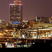Crown Center area of Kansas City Missouri at night.