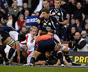 Twickenham, GREAT BRITAIN, Ollie MORGAN, looks at the referee for the verdict, during the  England vs Scotland, Calcutta Cup Rugby match played at the  RFU Twickenham Stadium on Sat 03.02.2007  [Photo, Peter Spurrier/Intersport-images]....