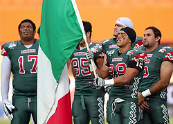 15.07.2011, Ernst Happel Stadion, Wien, AUT, American Football WM 2011, Japan (JAP) vs Mexico (MEX), im Bild López Rassiel gregorio (Mexico, #28, FS) with the mexican flag during the national anthem // during the American Football World Championship 2011 game, Japan vs Mexico, at Ernst Happel Stadion, Wien, 2011-07-15, EXPA Pictures © 2011, PhotoCredit: EXPA/ T. Haumer