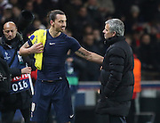 Paris Saint-Germain Zlatan Ibrahimović (vice captain) and Chelsea Manager Jose Mourinho after the Champions League match between Paris Saint-Germain and Chelsea at Parc des Princes, Paris, France on 17 February 2015. Photo by Phil Duncan.