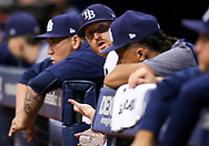 September 16, 2017 - St. Petersburg, Florida, U.S. - WILL VRAGOVIC   |   Times.Tampa Bay Rays starting pitcher Alex Cobb (53) talks with starting pitcher Chris Archer (22) in the dugout during the sixth inning of the game between the Boston Red Sox and the Tampa Bay Rays at Tropicana Field in St. Petersburg, Fla. on Saturday, Sept. 16, 2017. (Credit Image: © Will Vragovic/Tampa Bay Times via ZUMA Wire)