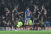 Luke Chambers (4) of Ipswich Town is shown a red card, sent off during the EFL Sky Bet League 1 match between Portsmouth and Ipswich Town at Fratton Park, Portsmouth, England on 21 December 2019.