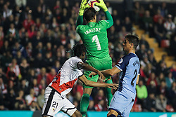 March 1, 2019 - Madrid, Madrid, Spain - A. Ba of Rayo Vallecano and Iraizoz of Girona in action during La Liga Spanish championship, , football match between Rayo Vallecano and Girona , March 01th, in Estadio de Vallecas in Madrid, Spain. (Credit Image: © AFP7 via ZUMA Wire)