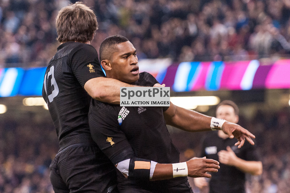 All Black Waisake Naholo celebrates scoring the first try, on his return from breaking his leg. Action from the New Zealand v Georgia game in Pool C of the 2015 Rugby World Cup at Milennium Stadium in Cardiff, 2 October 2015. (c) Paul J Roberts / Sportpix.org.uk