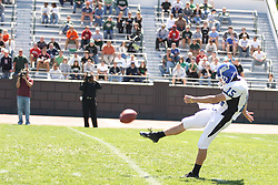 15 September 2007:  Neil Skirvin punts.The Titans stood toe to toe with the 25th ranked Lions through the first half but ended the game on the losing end of a 25-15 score at Wilder Field on the campus of Illinois Wesleyan University in Bloomington Illinois.