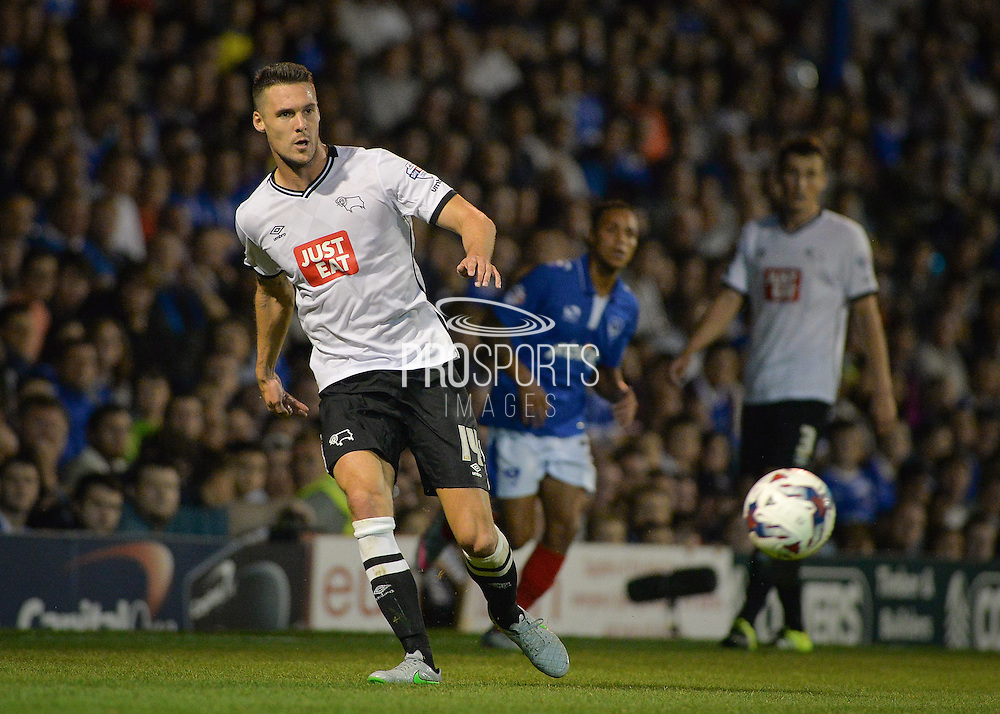 Jason Shackell during the Capital One Cup match between Portsmouth and Derby County at Fratton Park, Portsmouth, England on 12 August 2015. Photo by Adam Rivers.
