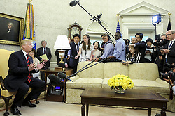 President Donald Trump speaks during a meeting with South Korean President Moon Jae-in in the Oval Office of the White House on May 22, 2018 in Washington DC.<br /> (Photo by Oliver Contreras/SIPA USA)