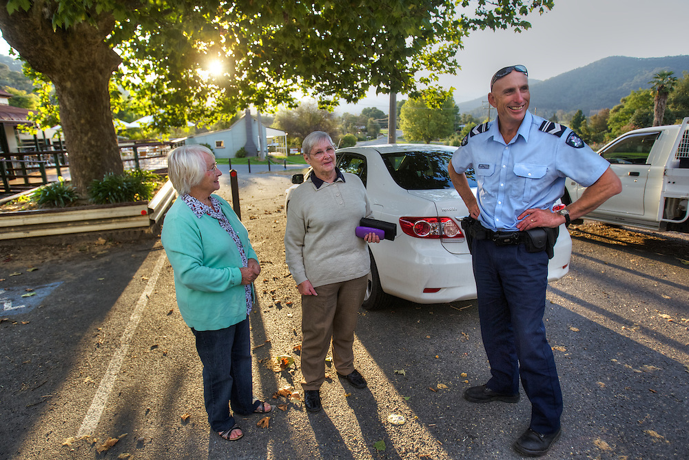 Mitta Mitta, one policeman town. Following the working life of Leading Senior Constable John Kissane. Kissane is thanked by Florence Thompson and June Franks who were out hiking when another woman hiker fell 70 meters down a steep slope. Kissane used the electric winch on his four wheel drive to rescue the woman. Pic By Craig Sillitoe CSZ/The Sunday Age.27/03/2012 This photograph can be used for non commercial uses with attribution. Credit: Craig Sillitoe Photography / http://www.csillitoe.com<br />
