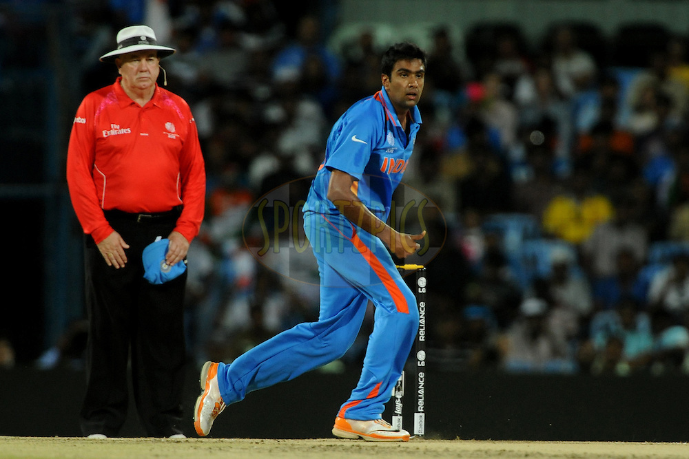 Ravichandran Ashwin of India bowls during the ICC Cricket World Cup match between India and The West Indies held at the MA Chidambaram Stadium in Chennai, Tamil Nadu, India on the 20 March 2011.Photo by Pal Pillai/BCCI/SPORTZPICS