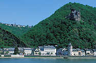 DEU, Germany, St. Goarshausen at the river Rhine, castle Katz.....DEU, Deutschland, St. Goarshausen am Rhein mit der Burg Katz.........