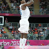 31 July 2012: France Mickael Gelabale takes a three points jumpshot during 71-64 Team France victory over Team Argentina, during the men's basketball preliminary, at the Basketball Arena, in London, Great Britain.