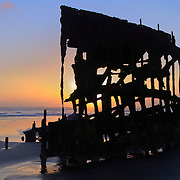 Peter Iredale Shipwreck Silhouette - Sunset - Oregon Coast