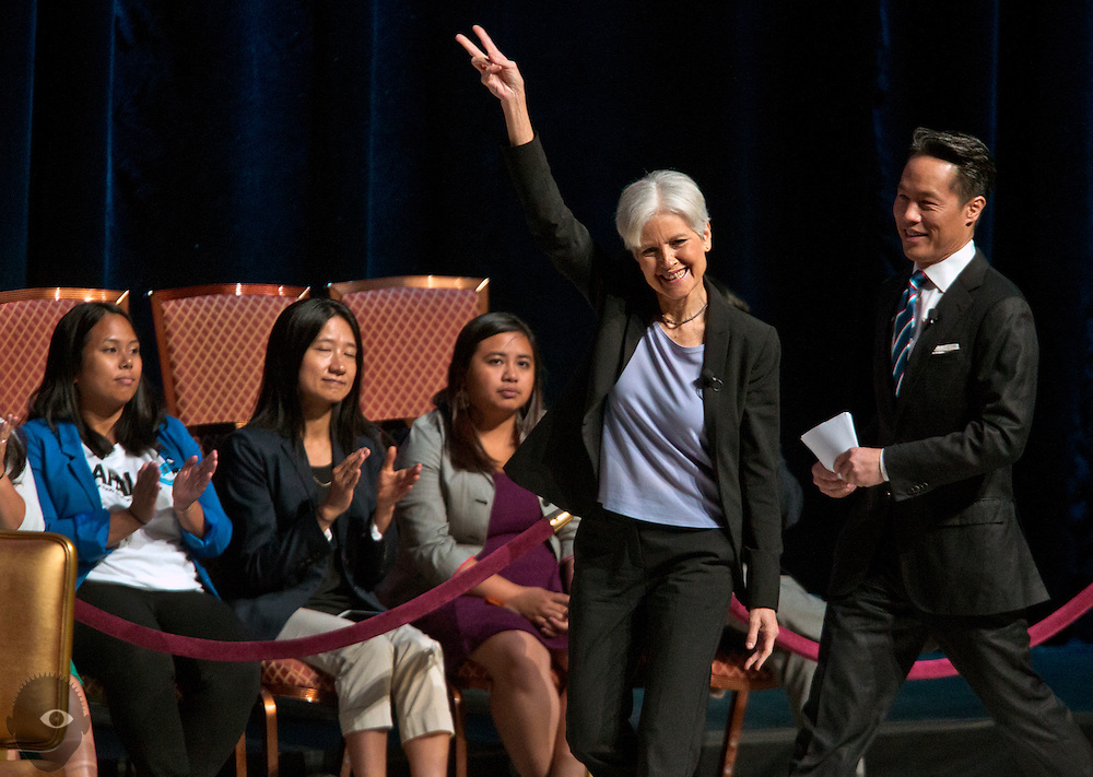 Green Party presidential nominee Dr. Jill Stein arrives with interviewer Richard Lui during a presidential election forum The Colosseum at Caesars Palace on Friday, August 12, 2016. L.E. Baskow