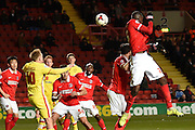 Goal mouth scramble during the Sky Bet Championship match between Charlton Athletic and Milton Keynes Dons at The Valley, London, England on 8 March 2016. Photo by Martin Cole.