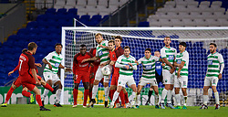 CARDIFF, WALES - Thursday, August 9, 2018: The New Saints FC players form a defensive wall as FC Midtjylland's captain Jakob Poulsen takes a free-kick during the UEFA Europa League Third Qualifying Round 1st Leg match between The New Saints FC and FC Midtjylland at Cardiff City Stadium. (Pic by David Rawcliffe/Propaganda)