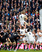 Twickenham, United Kingdom, England's  Joe LAUNCHBURY, collects the line out ball during the 2013 QBE  Autumn Rugby International, England vs New Zealand, played  Saturday  16/11/2013 at the RFU Stadium Twickenham, England. [Mandatory Credit: Peter Spurrier/Intersport<br /> Images}