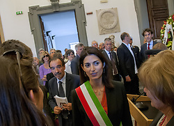 May 5, 2017 - Rome, Italy, Italy - The mayor of Rome, Virginia Raggi, participates in the hall of the Campidoglio Protomoteca at the Funeral of Valentino Parlato, journalist, founder and editor of the newspaper Il Manifesto. Valentino welcomed many journalists, politicians and exponents of the world of the world of culture (Credit Image: © Patrizia Cortellessa/Pacific Press via ZUMA Wire)