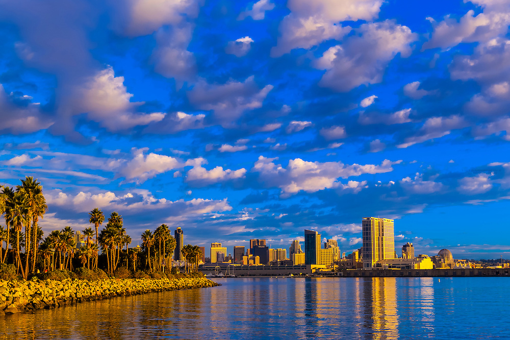 Looking from Coronado Island across San Diego Bay to downtown San Diego, California USA.