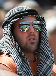 LONDON, ENGLAND - Monday, June 27, 2011: Centre Court reflected in the mirrored sunglasses of a spectator during the Gentlemen's Singles 4th Round match on day seven of the Wimbledon Lawn Tennis Championships at the All England Lawn Tennis and Croquet Club. (Pic by David Rawcliffe/Propaganda)