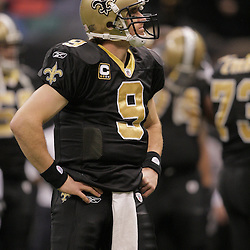 2008 December, 28: New Orleans Saints quarterback Drew Brees (9) on the field prior to kickoff of a week 17 game between NFC South divisional rivals the Carolina Panthers and the New Orleans Saints at the Louisiana Superdome in New Orleans, LA.