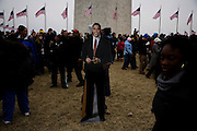 Obama Inauguration - Sunday concert on the National Mall, Washington monument and Lincoln Memorial. Cardboard cut-out of Obama in the crowd near the Washington Monument.