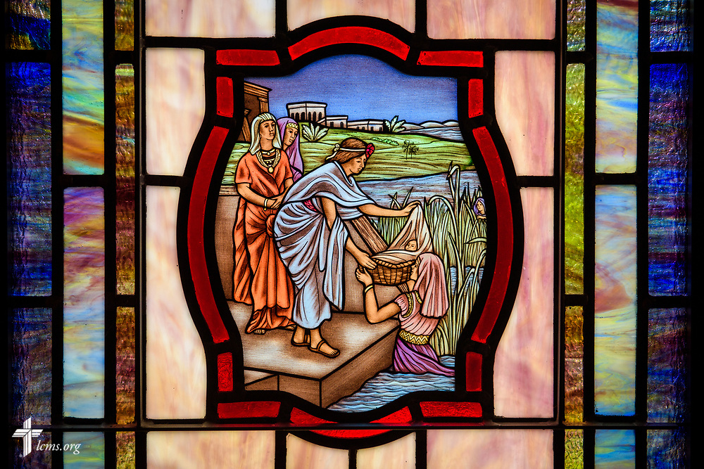 Stained glass depicting the birth of Moses, and the servant of Pharaoh's daughter finding him among the reeds (Exodus 2:5) at St. John's Lutheran Church, Conover, N.C, on Friday, April 21, 2017. LCMS Communications/Erik M. Lunsford