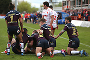 The Leeds Rhinos defence on its knees during the Betfred Super League match between Hull Kingston Rovers and Leeds Rhinos at the Lightstream Stadium, Hull, United Kingdom on 29 April 2018. Picture by Mick Atkins.