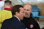 Gillingham  manager Justin Edinburgh and Walsall interim manager Jon Whitney  shortly before the Sky Bet League 1 match between Gillingham and Walsall at the MEMS Priestfield Stadium, Gillingham, England on 12 April 2016. Photo by Martin Cole.