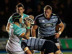 Connacht's Jake Heenan is tackled by Cardiff Blues' Olly Robinson<br /> <br /> Photographer Simon King/Replay Images<br /> <br /> Guinness Pro14 Round 9 - Cardiff Blues v Connacht Rugby - Friday 24th November 2017 - Cardiff Arms Park - Cardiff<br /> <br /> World Copyright © 2017 Replay Images. All rights reserved. info@replayimages.co.uk - www.replayimages.co.uk