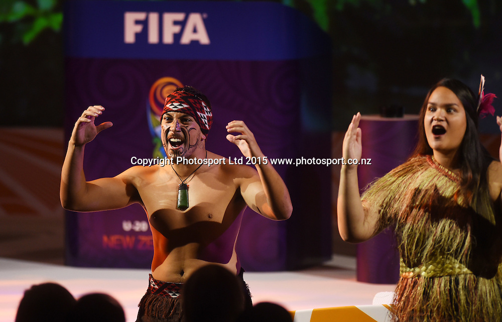 Maori Performers. Official Draw for the FIFA U 20 Football World Cup, New Zealand 2015. Sky City, Auckland. Tuesday 10 February 2015. Copyright photo: Andrew Cornaga / www.photosport.co.nz