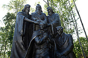A sculpture depicting the restoration of the Aaronic and Melchizedek Priesthoods await visitors at The Church of Jesus Christ of Latter Day Saints Priesthood Restoration Site in Susquehanna, PA, Thursday, July 21, 2016. The site, which was errected and opened in 2015 and has seen 25,000 visitors to date, and is where Joseph Smith translated the Book of Mormon.<br /> CREDIT: Heather Ainsworth for The Wall Street Journal