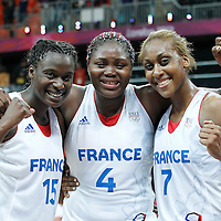 07 August 2012: France Jennifer Digbeu, Isabelle Yacoubou and Sandrine Gruda pose following 71-68 Team France victory over Team Czech Republic, during the women's basketball quarter-finals, at the Basketball Arena, in London, Great Britain.