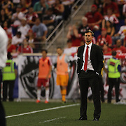 Jesse Marsch, New York Red Bulls Manager, on the sideline during the New York Red Bulls Vs NYCFC, MLS regular season match at Red Bull Arena, Harrison, New Jersey. USA. 10th May 2015. Photo Tim Clayton