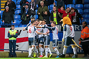 Daryl Murphy of Bolton Wanderers celebrating his team's first goal during the EFL Sky Bet League 1 match between Bolton Wanderers and Milton Keynes Dons at the University of  Bolton Stadium, Bolton, England on 16 November 2019.