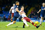 Bradford's forward Charlie Wyke just reaches the ball before Southend's defender John White during the EFL Sky Bet League 1 match between Southend United and Bradford City at Roots Hall, Southend, England on 16 December 2017. Photo by Matt Bristow.