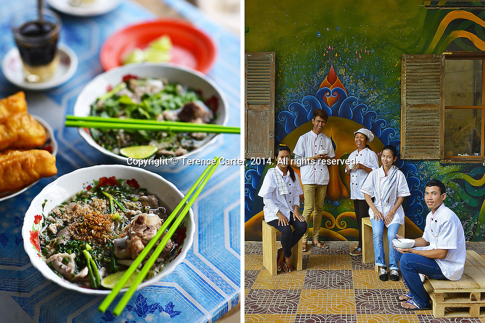 Roadside Stall Pork Noodle Soup (left), Chefs take a break at Jaan Bai (right), Battambang, Cambodia. Copyright 2014 Terence Carter / Grantourismo. All Rights Reserved.