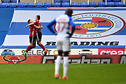 Goal - Callum Connolly (16) of Ipswich Town celebrates scoring a goal to give a 0-4 lead to the away team with Mo Barrow (17) of Reading in the foreground looking dejected during the EFL Sky Bet Championship match between Reading and Ipswich Town at the Madejski Stadium, Reading, England on 28 April 2018. Picture by Graham Hunt.