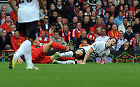 Jonjo Shelvey is shown the Red Card by Referee Martin Halsey after his challenge on Jonny Evans<br />Liverpool 2012/13<br />Liverpool V Manchester United 23/09/12<br />The Premier League<br />Photo: Robin Parker Fotosports International