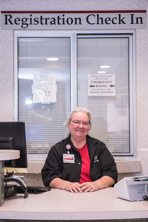 Patient Access Registration Specialist Mary Brown, photographed Wednesday, May 20, 2015, at Baptist Health in Richmond, Ky. (Photo by Brian Bohannon/Videobred for Baptist Health)