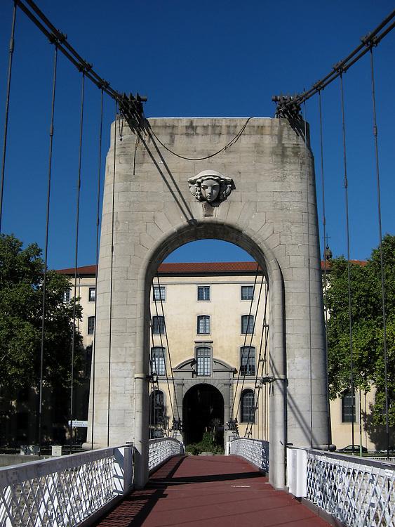 Pont Morand, a pedestrian bridge across the Rhône river, in Lyon, France