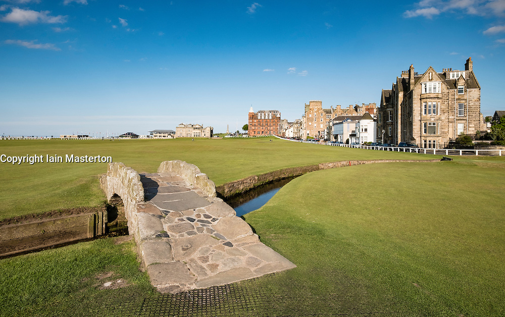 View of Swilken Burn Bridge on fairway of 18th hole at Old Course in St Andrews in Fife , Scotland, United Kingdom