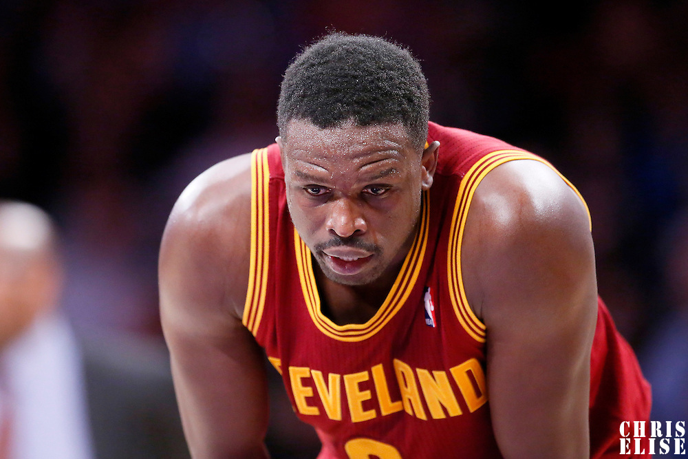 14 January 2014: Cleveland Cavaliers small forward Luol Deng (9) rests during the Cleveland Cavaliers 120-118 victory over the Los Angeles Lakers at the Staples Center, Los Angeles, California, USA.