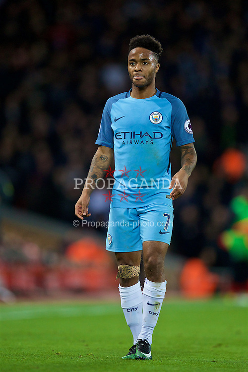 LIVERPOOL, ENGLAND - Saturday, December 31, 2016: Manchester City's Raheem Sterling in action against Liverpool during the FA Premier League match at Anfield. (Pic by David Rawcliffe/Propaganda)