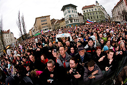 Fans of Slovenian 2-times silver medalist alpine skier Tina Maze at reception at Preseren's square when she came from Vancouver after Winter Olympic games 2010, on February 28, 2010 in Center of Ljubljana, Slovenia. (Photo by Vid Ponikvar / Sportida)