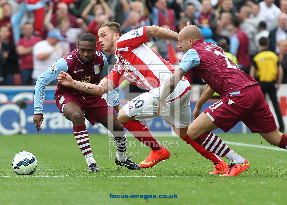 Marko Arnautovic of Stoke City in action against Aston Villa during the Barclays Premier League match at the Britannia Stadium, Stoke-on-Trent.<br /> Picture by Michael Sedgwick/Focus Images Ltd +44 7900 363072<br /> 16/08/2014