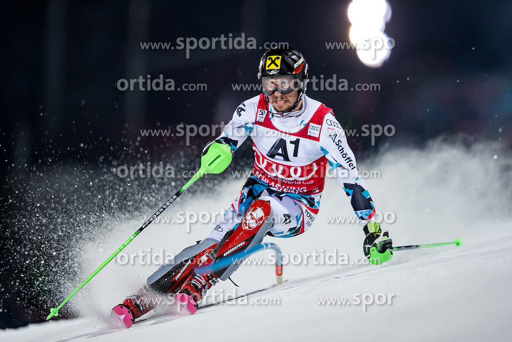 24.01.2017, Planai, Schladming, AUT, FIS Weltcup Ski Alpin, Schladming, Slalom, Herren, 1. Durchgang, im Bild Marcel Hirscher (AUT) // Marcel Hirscher of Austria during his 1st run of men's Slalom Race of Schladming FIS Ski Alpine World Cup at the Planai in Schladming, Austria on 2017/01/24. EXPA Pictures © 2017, PhotoCredit: EXPA/ Johann Groder