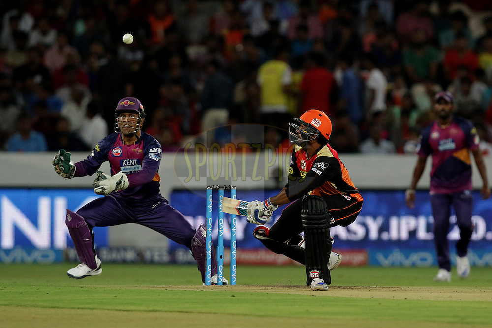Rising Pune Supergiants captain MS Dhoni going to take a catch of Deepak Hooda of Sunrisers Hyderabad during match 22 of the Vivo IPL 2016 (Indian Premier League ) between the Sunrisers Hyderabad and the Rising Pune Supergiants held at the Rajiv Gandhi Intl. Cricket Stadium, Hyderabad on the 26th April 2016<br /> <br /> Photo by Rahul Gulati / IPL/ SPORTZPICS