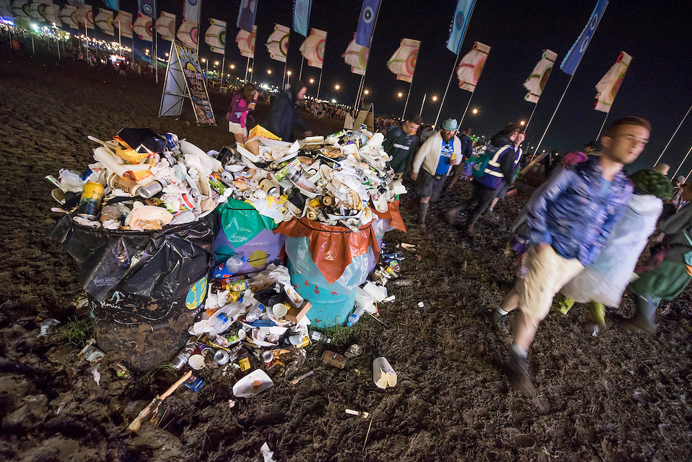 Mud and rubbish near the other stage, late at night - The 2016 Glastonbury Festival, Worthy Farm, Glastonbury.