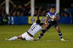 Bath Winger Semesa Rokoduguni is tackled by Montpellier Winger Samisoni Viriviri - Photo mandatory by-line: Rogan Thomson/JMP - 07966 386802 - 12/12/2014 - SPORT - RUGBY UNION - Bath, England - The Recreation Ground - Bath Rugby v Montpellier Herault Rugby - European Rugby Champions Cup Pool 4.